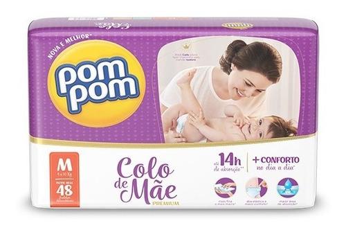 Fralda Pom Pom Colo De Mãe Mega M 48 Unidades