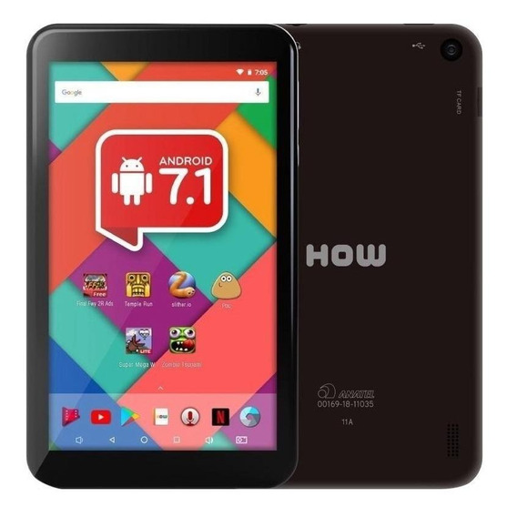 "Tablet How HT-705 7"" 8GB preto com memória RAM 1GB"
