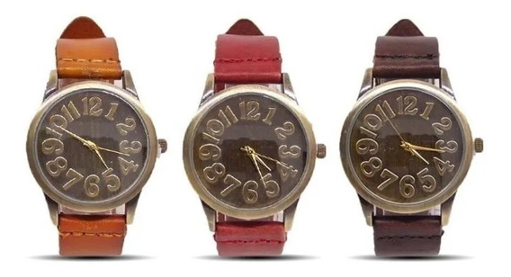 Relógio Pulso Feminino Masculino Unissex Vintage Retro Couro