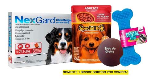 Antipulgas E Carrapatos Nexgard Cão 25 A 50kg Com 3 + Brinde