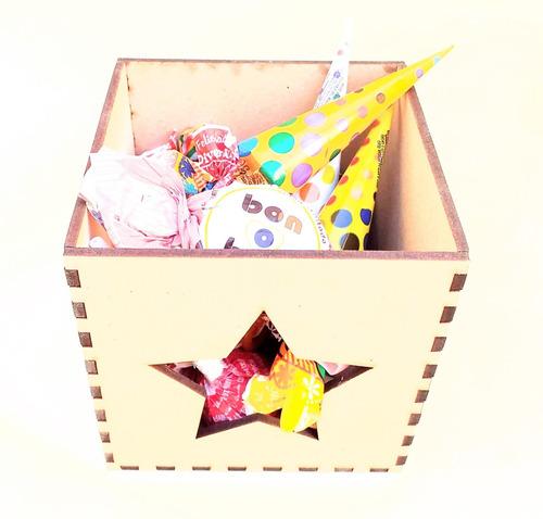 Imagen 1 de 3 de Candy Bar Caja Estrella Calada Souvenir - Mdf / Fibrofacil