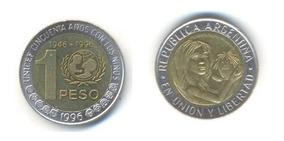 Moneda $1 Unicef - Bimetálica Argentina 1996 - Usada C/u