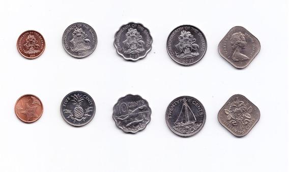 Bahamas Set De 5 Monedas 1969 Centavos De Dolar Unc Formas