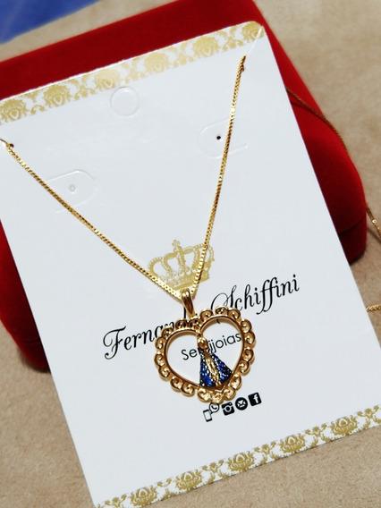 Colar Nossa Senhora Aparecida Safira Folheado Ouro Cl1843