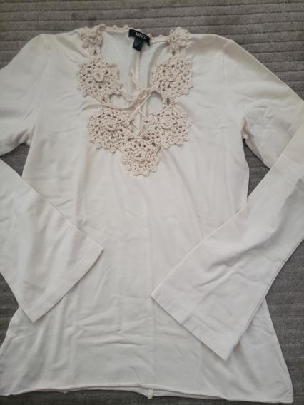 Camiseta Blusa Manga Longa Marfim Mng G Renda Crochet Croche