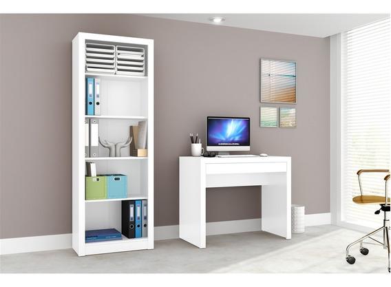 Conjunto Home Office Cb03 Com Escrivaninha E Armário Alto 4