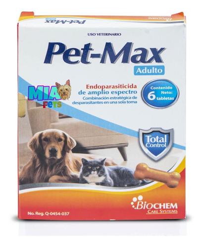 Imagen 1 de 6 de Desparasitante Para Perro Y Gato Adulto Pet Max 6 Tabletas