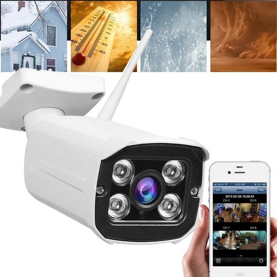 Camara Exterior Resistente Lluvia Ip Wifi Hd 720 Hd P2p Visión Nocturna Alerta Sensor De Movimiento Infrarrojo Monitoreo