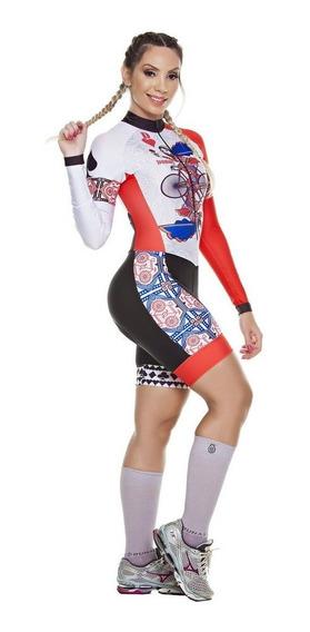 Macaquinho Ciclismo Feminino Dunas Rainha Manga Longa Bike Top