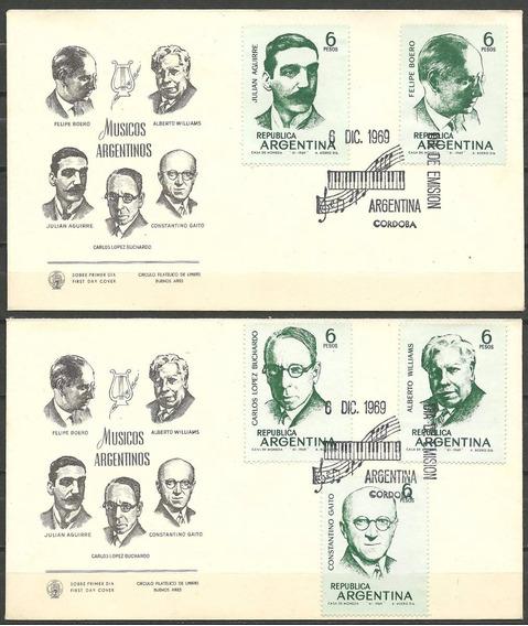 Argentina 1969 Gj 1499/503 S P D Me 852/56 Músicos Música A