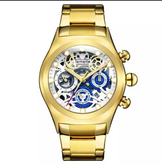 Relógio Masculino Temeite Analógico Ds3 Vidro 3d Esqueleto.
