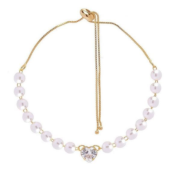 7 Pulseira Madrinha Gravata Pedra Cristal Folheado Ouro