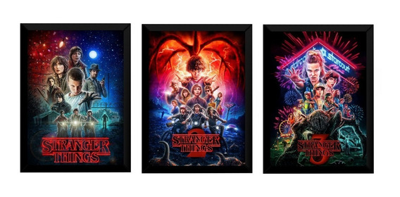 Kit 3 Quadros Stranger Things Arte Posters Moldurados