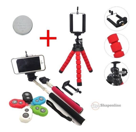 Mini Tripé Flexível + Bastão Selfie + Controle Bluetooth