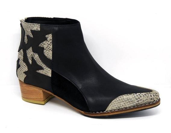 Zapato Mujer Bota Tipo Texana Artesanal Cuero Taco Bajo