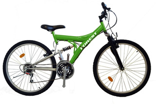 Bicicleta Mountain Bike Rodado 26 Doble Suspension Forest Cuadro Reforzado Cambios Llantas Varios Colores Happy Buy