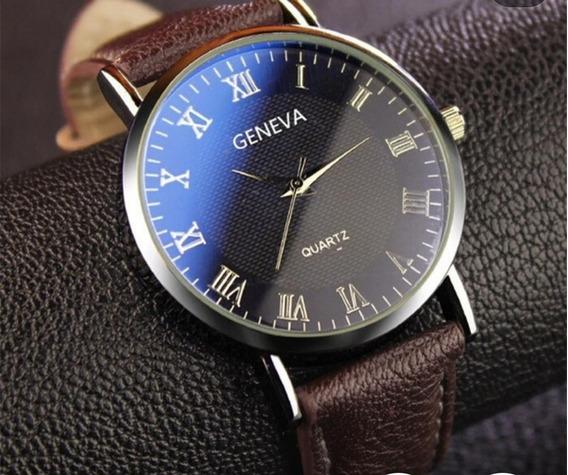 Relógio Geneva Quartz Preto Com Pulseira Marrom