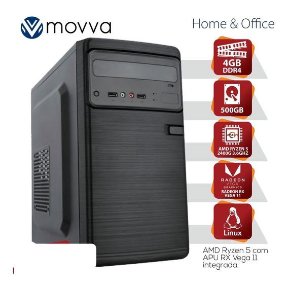 Computador Amd Ryzen 5 2400g 3.6ghz Mem 4gb Hd 500gb Hdmi/vga Fonte 200w Linux-grafico Integrado Rx Vega 11