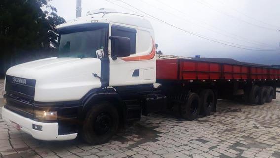 Scania T124 360 Carreta Graneleira Com Porta Container