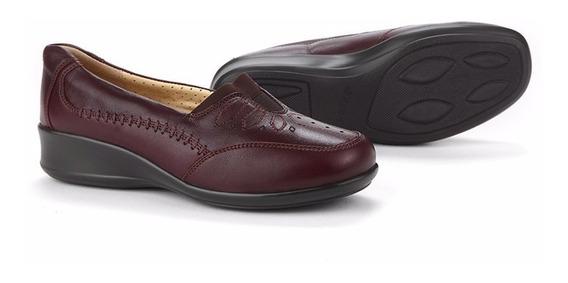 Zapatos Calzado Vestir Dama 8026 Onena Vino Pie Ancho Triple