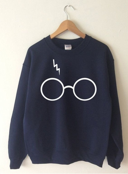 Blusa Moletom Harry Potter Óculos Cicatriz Unissex Gola Cano