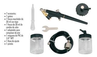 Juego Aerografo Pistola De Succión 6 Accesorios Y Estuche