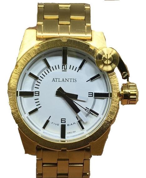 Relógio Masculino Atlantis Prateado Dourado Aço Luxo Grande