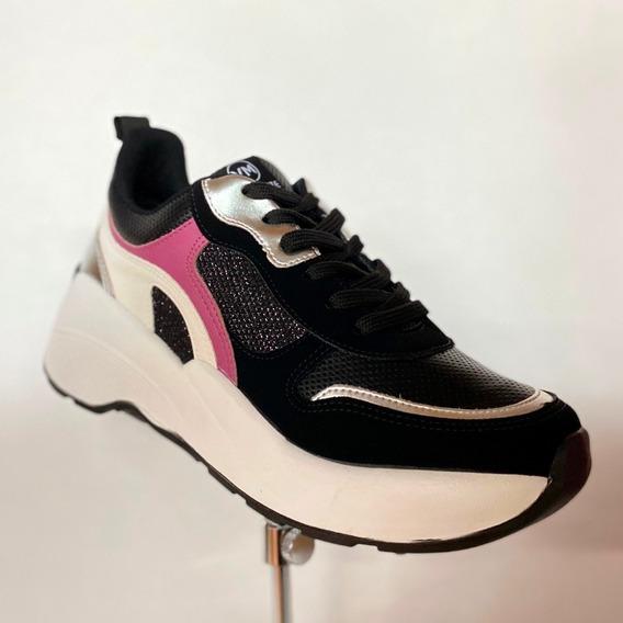 Tênis Feminino Via Marte Preto Rosa Branco Chunky Sneaker/ A