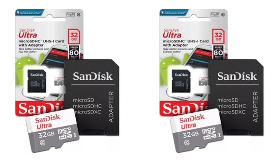 Kit 2 Cartões Memória Sandisk 32gb Micro Sd Ultra Original