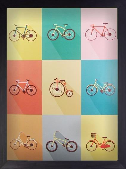 Quadro Bike Bikes Vintage A3 30x40 Decoração Arte Preto