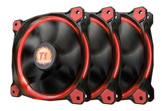 Cooler Gabinete Tt Riing 12cm Led Radiator Red Pack Com 3