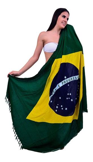 Saída De Banho Canga Praia Bandeira Do Brasil Toalha Verão
