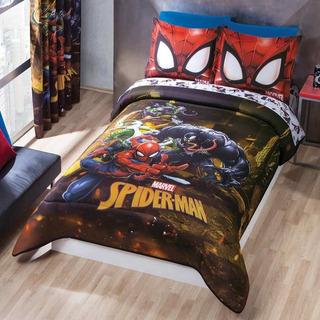 Edredon Spiderman Cama Matrimonial Microfibra Negro Concord