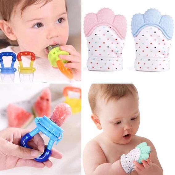 Luva Mordedor + Chupeta Alimentadora Silicone Bebê 5-12m