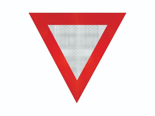 Imagem 1 de 3 de Placa De Triangulo C/ Adesivo Refletivo R-2 Ti