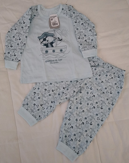 Pijama Infantil Masculino Algodão Urso Marinheiro Azul Claro