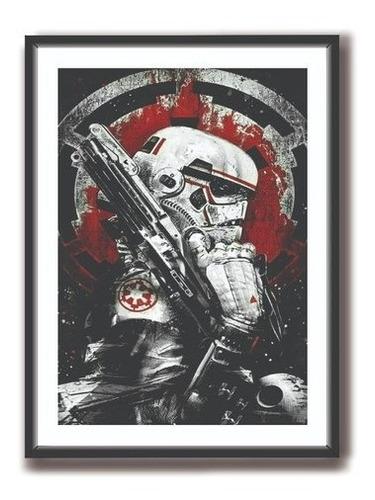 Imagem 1 de 2 de Quadro Decorativo Star Wars C/ Moldura E Vidro 60x40 Cm