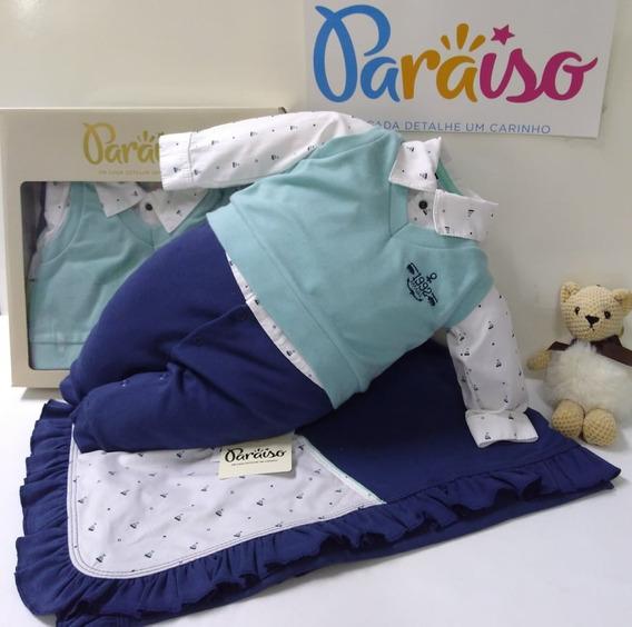 Saida Maternidade Paraiso Bebe Menino Macacao Luxo Ref 8479