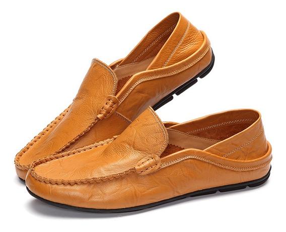 Homens Tamanho Grande Couro Cor Pura Deslizamento Em Sapatos