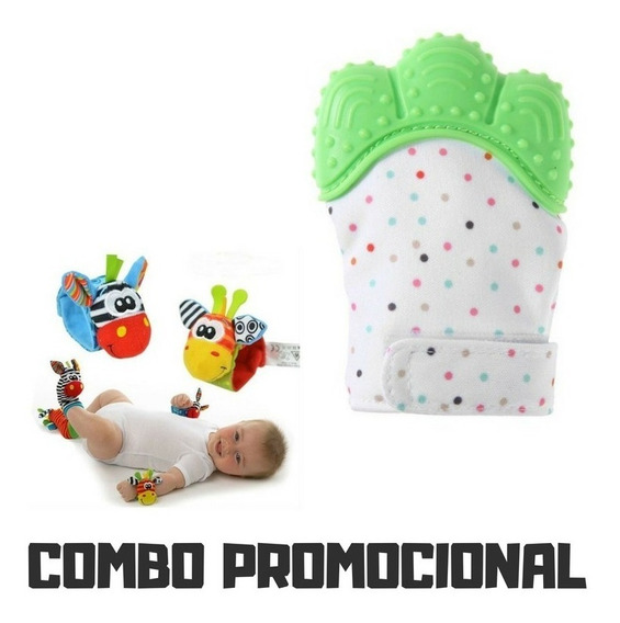 Kit Bebês 1pç Luva Mordedora + Chocalhos Pé E Mão+2 Chupet