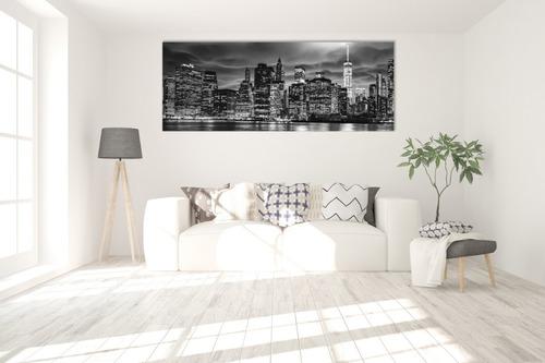 Imagen 1 de 5 de Cuadro Canvas New York Moderno Blanco Negro 60x180cm