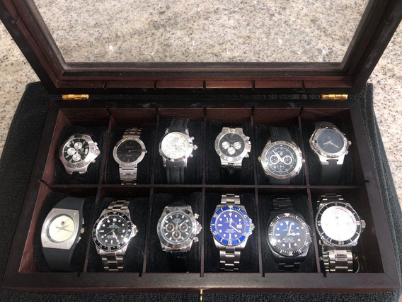 Rolexs, Bulgaris Tissot, Tags.. Estojo Completo, 12 Relógios