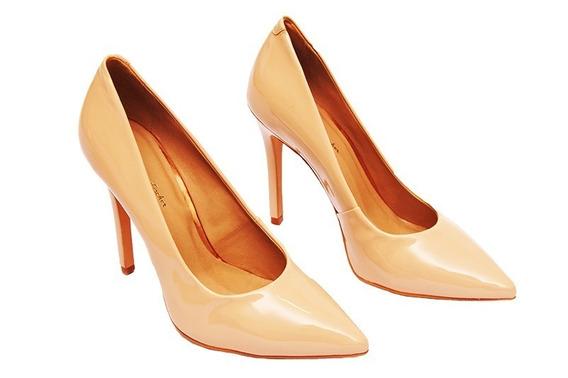 Scarpin Feminino De Bico Fino Sapato De Couro Casamento 4032