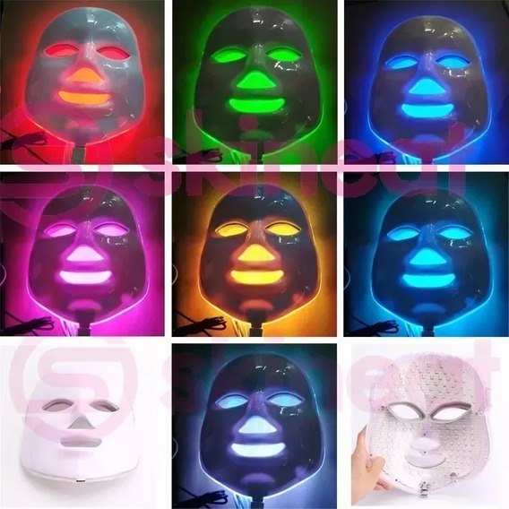 Máscara Led 7 Cores Tratamento Facial Fototerapia - Super