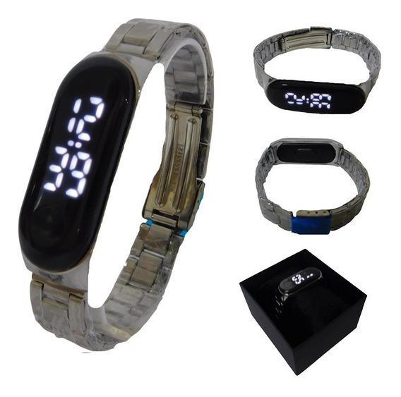 Relógio Feminino Masculino Led Digital Prata Unissex Luxo