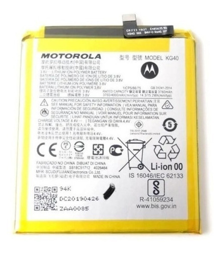 Imagen 1 de 1 de Bateria Pila Para Motorola Moto One Macro Kg40 Xt2016