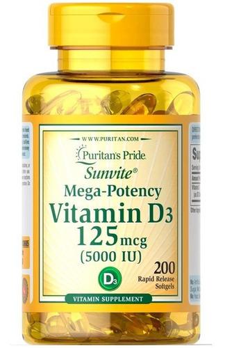 Imagem 1 de 1 de Vitamina D3 5.000iu C/200 Softgels Puritan's Importado