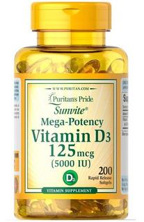 Vitamina D3 5.000iu C/200 Softgels Puritan