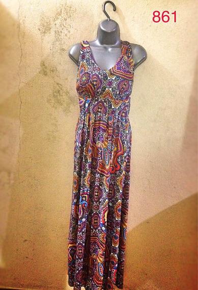 Vestido Floral Estampado Indiano G Bojo Longo Acinturado