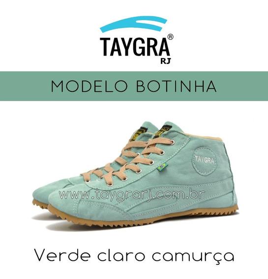 Taygra Botinha Verde Clara Camurça
